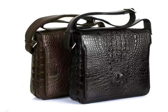 Rossie Viren Men's Crocodile Skin Leather Expandable Messenger Bag,School Bag,Laptop Bags