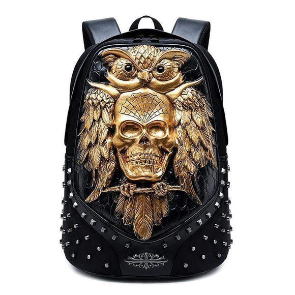 Studded 3D Happy Skull With Bat Animal Unisex  School Bag Computer Backpacks
