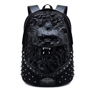 Studded Backpack 3D Animal Unisex Happy Small Lion School Bag Animal Pattern Trendy Backpacks
