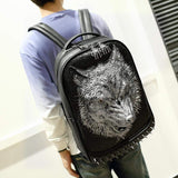 Unisex 3D Angry Wolf PU Leather Casual Laptop Rivet Backpack School Bag