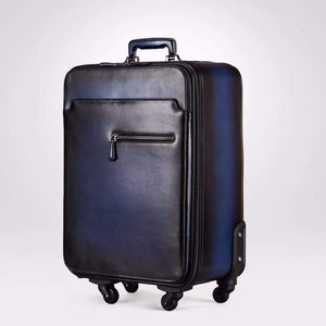 Vintage  Smooth  Cowhide Leather Voyager 4  Wheeled Leather Trolley Travel Bag