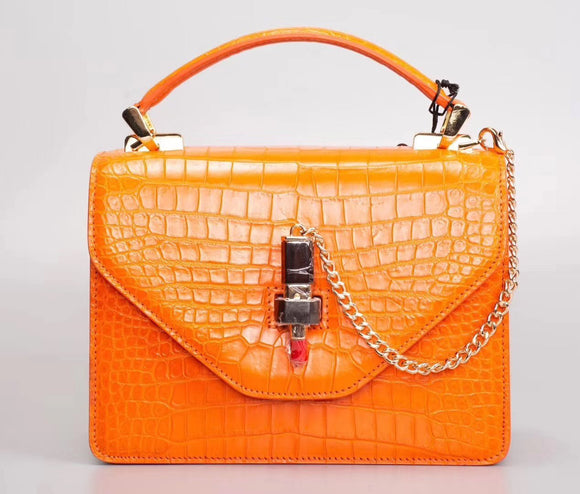 Women's Crocodile Leather Top Handle Satchel Bags With Lipstick Closure
