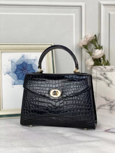Women's Genuine Crocodile Leather Top Handle Shoulder Bags