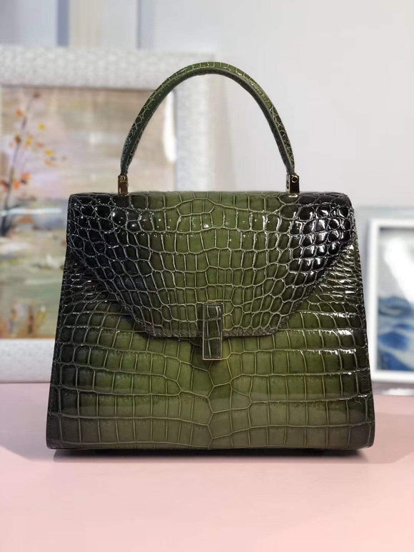 Women's High Shiny Crocodile Leather Top Handle Messenger Cross Body Bags Green