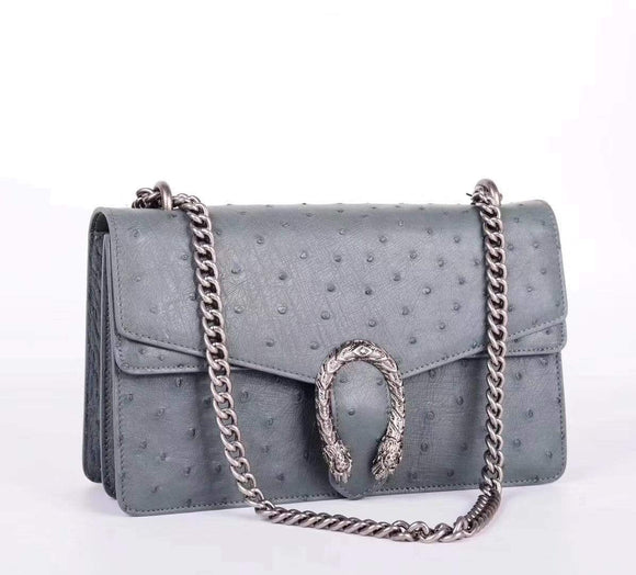 Women's Ostrich Leather Chain Shoulder Bag