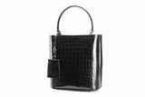 Womens Crocodile Leather Black Backet Shoulder Bags