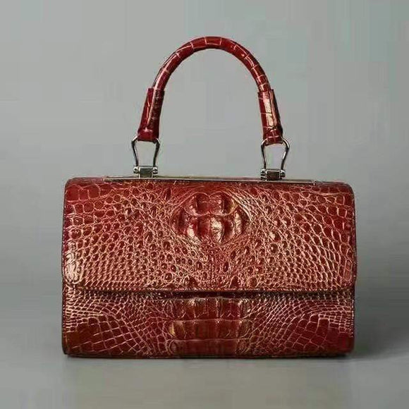 Womens Crocodile Leather Structured Satchel