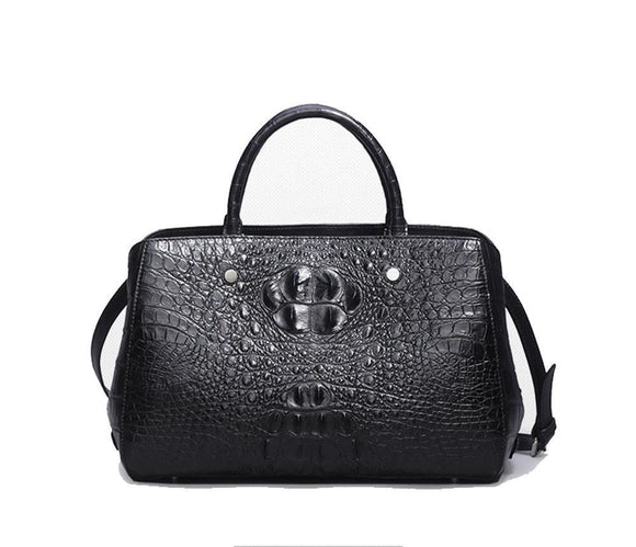 Womens Crocodile  Skin  Leather Double Handle  Tote Bag