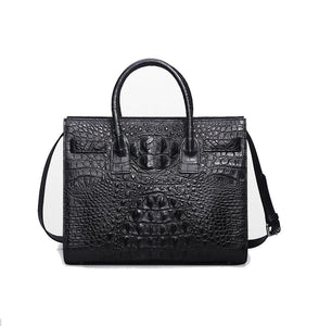 Womens Crocodile  Skin  Leather Top Handle Satchel Bag