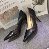 Womens Genuine  Crocodile Belly Leather Pointed Toe Pumps