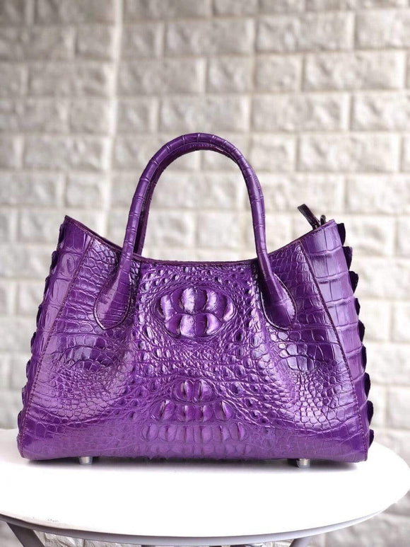 Womens Genuine Crocodile Bone Leather Tote Top Handle Shoulder Bag