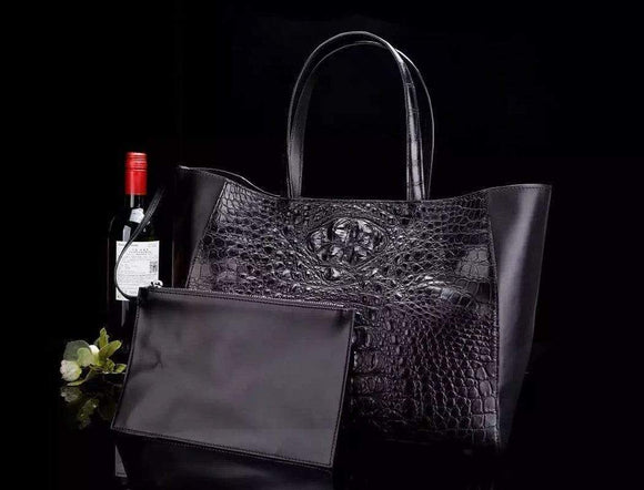Womens Genuine Crocodile Leather Large Tote Shoulder Bag With Pouch