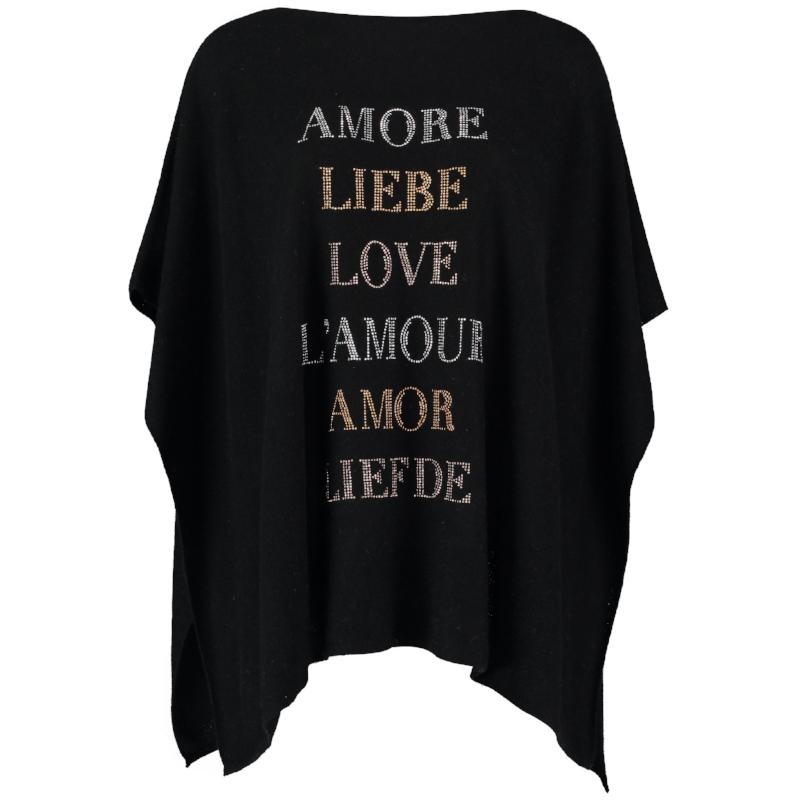 Boat Neck Cashmere Poncho AMORE by Cashmere Rebel London