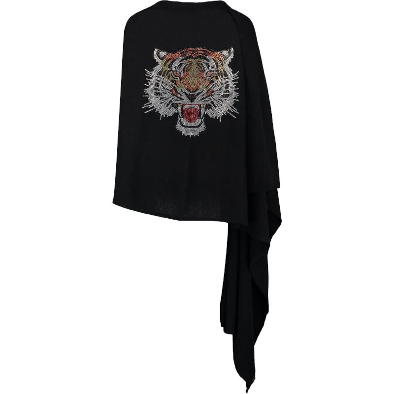 Crystal embellished ROARING TIGER cashmere travel wrap by cashmere rebel london