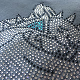 Crystal embellished cashmere pashmina shawl, grey with bulldog