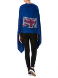 Crystal embellished cashmere pashmina shawl, blue with union jack