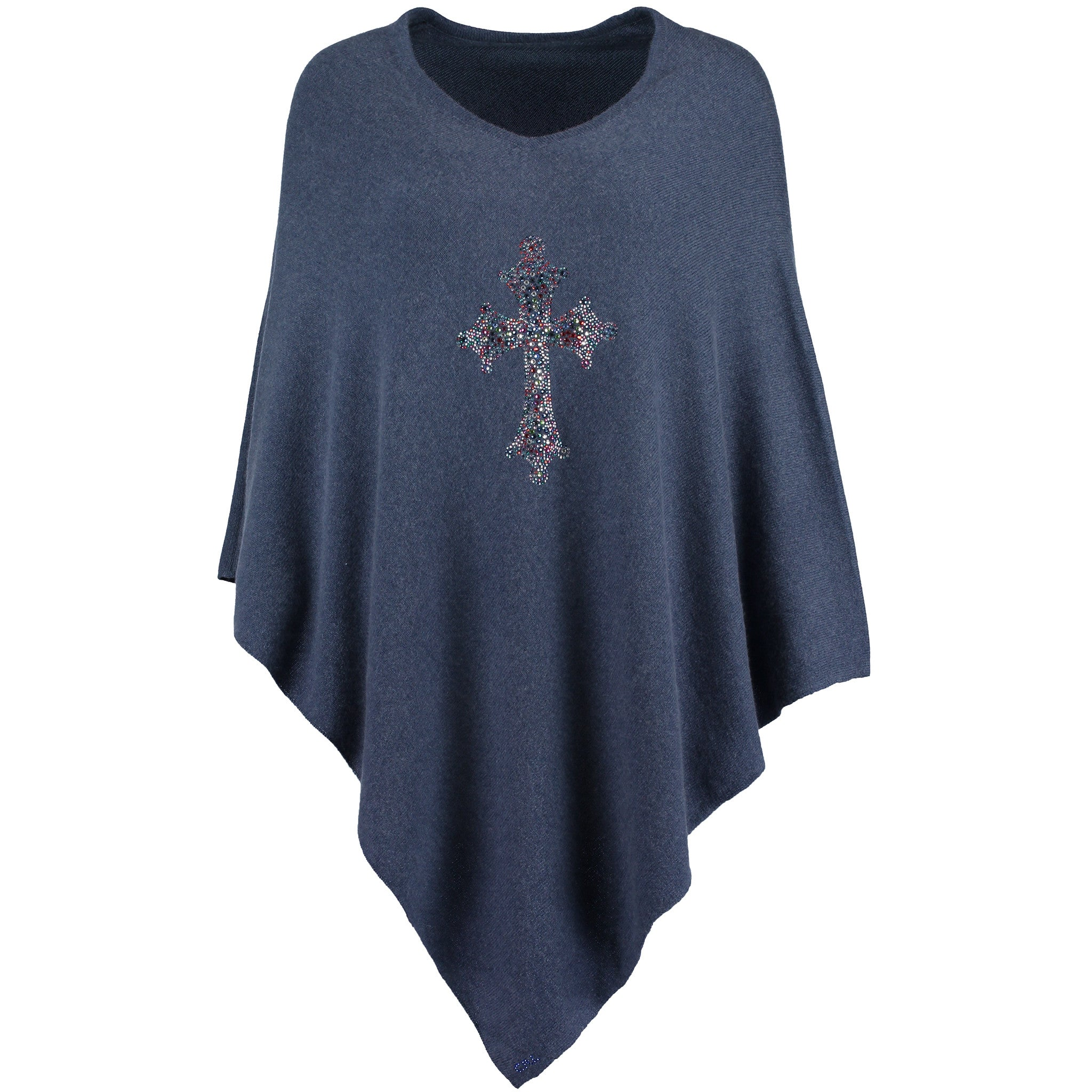 Blue CROSS crystal embellished cashmere poncho by Cashmere Rebel