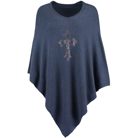 CROSS Crystal embellished rich cashmere poncho