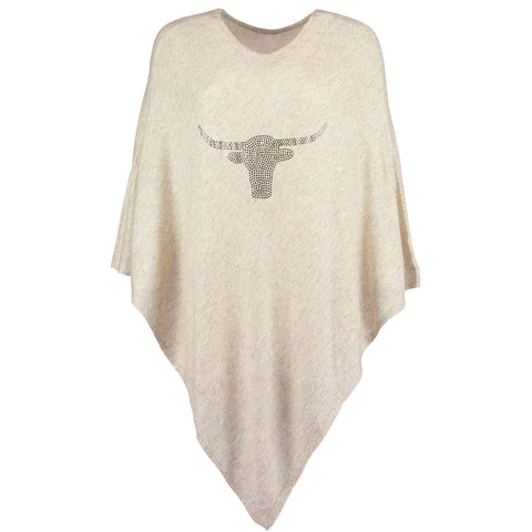 LONGHORN Crystal embellished light cashmere poncho