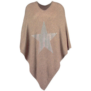 Brown cashmere poncho featuring large, sparkling STAR crystal embellishment. By Cashmere Rebel London.