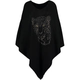 Crystal embellished cashmere poncho wild cat animal print
