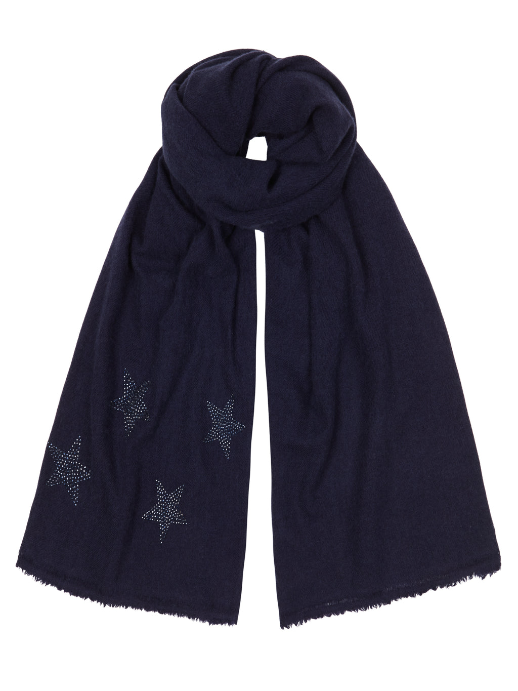 Woven Winter Cashmere Scarf STARS  (midnight blue)