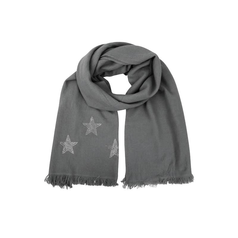 Woven Winter Cashmere Scarf STARS  (grey)