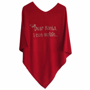 V-neck cashmere poncho DEAR SANTA, I CAN EXPLAIN... (red)