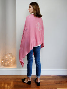 XL Chunky, knitted cashmere travel wrap #LOVEPINK by cashmere rebel