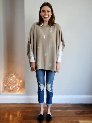 Boat Neck Cashmere Poncho QUEEN BEE