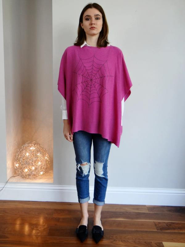Boat Neck Cashmere Poncho SPIDER GIRL by Cashmere Rebel London