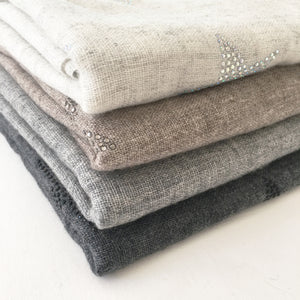 Crystal embellished cashmere scarf, grey (off black) with stars