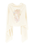 Crystal embellished cashmere pashmina shawl, off white with geisha