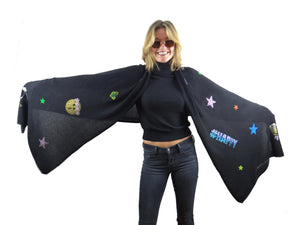 XL Chunky, knitted cashmere travel wrap #HAPPY (black)