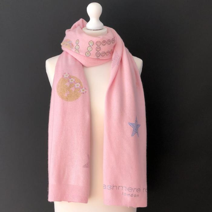 XL Chunky, knitted cashmere travel wrap #HAPPY (rose pink)