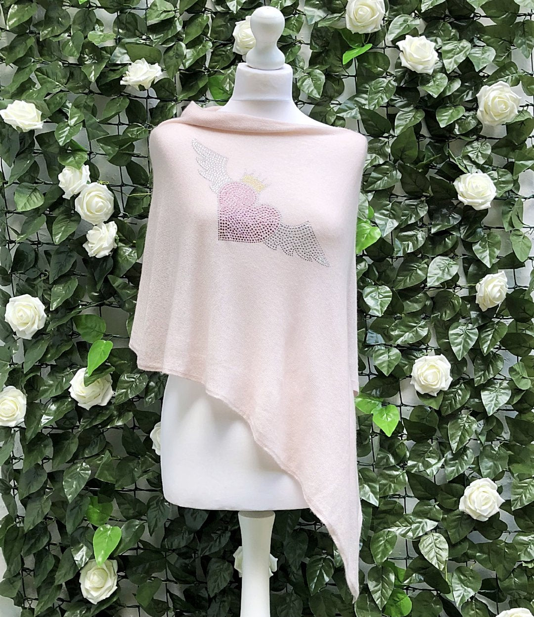 Light asymmetric summer poncho FLYING HEART (blush)
