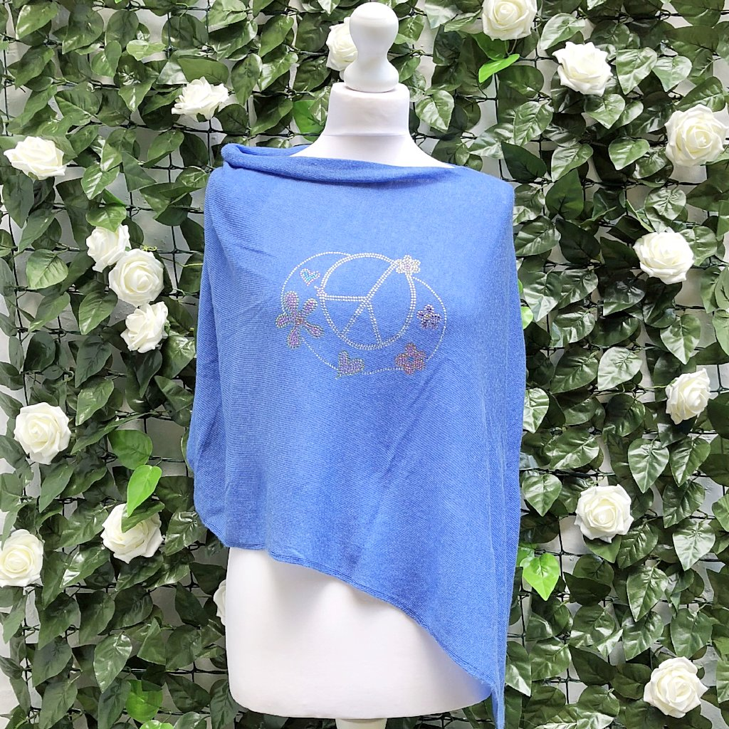Light asymmetric summer poncho PEACE (azur)
