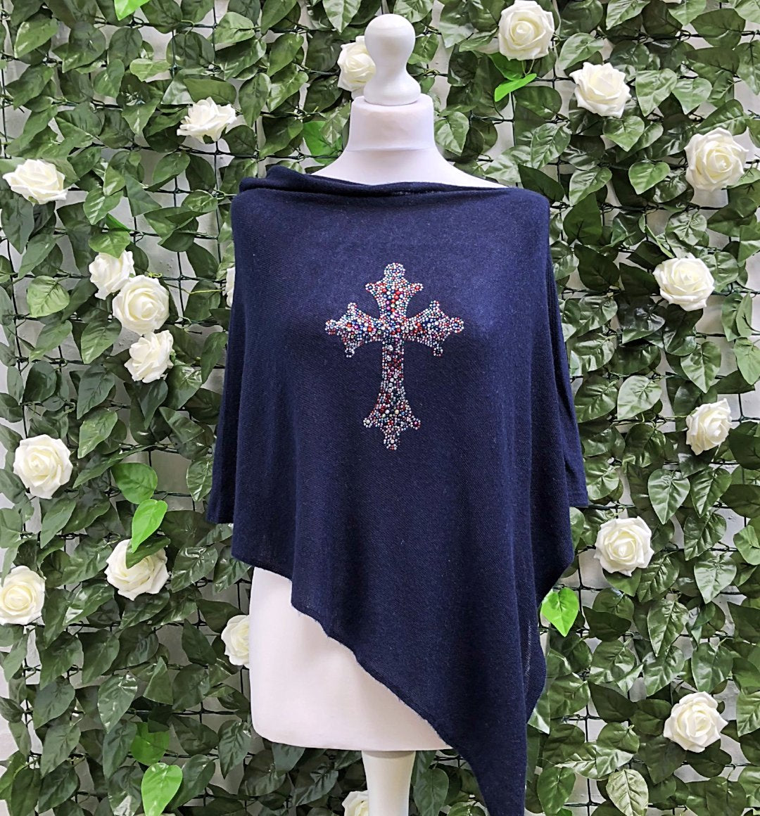 Light asymmetric summer poncho CROSS (navy)