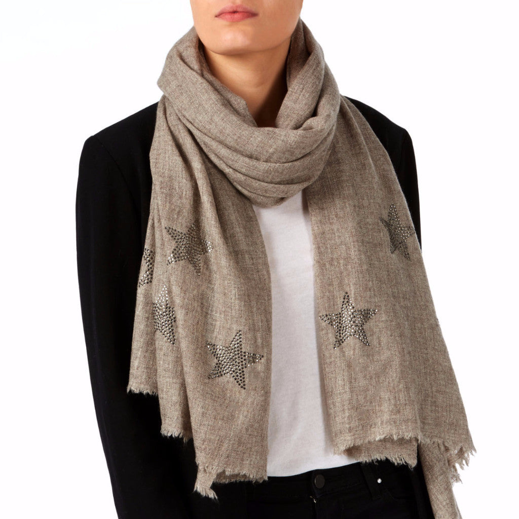 Crystal embellished cashmere scarf, beige (off brown) with stars