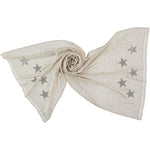 Light woven cashmere scarf | off white | STARS (smoke)