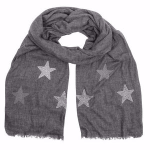 Light woven cashmere scarf | graphite grey | STARS ice white