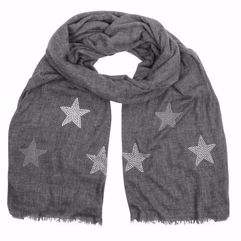 Noble Naturals cashmere scarf | graphite grey | STARS ice white