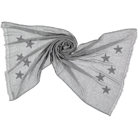 Light woven cashmere scarf | goose grey | STARS (black or white)
