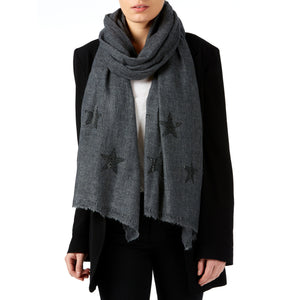 Light woven cashmere scarf | graphite grey | STARS true black