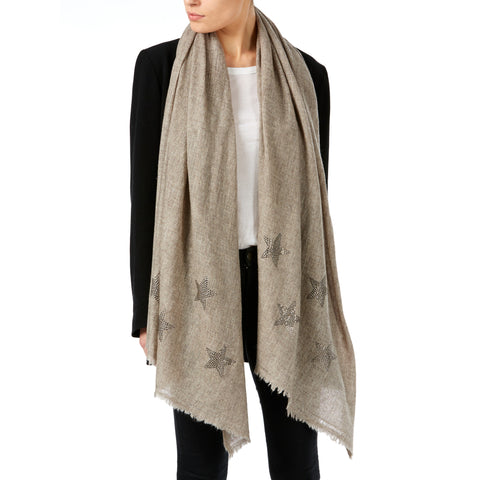 Light woven cashmere scarf | pebble beige | STARS smoke grey