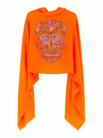 Cashmere Pashmina SKULL (orange)