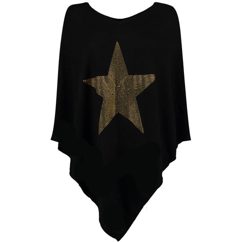 Crystal embellished cashmere poncho  STAR (black/gold)