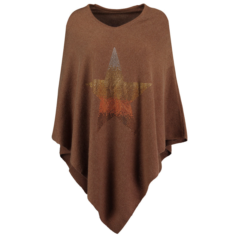 Crystal embellished cashmere poncho  STAR (brown/rainbow)