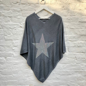 Crystal embellished rich V-neck cashmere poncho (grey/silver)