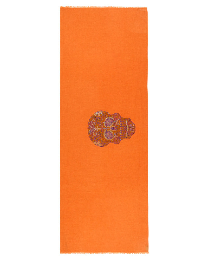 Crystal embellished cashmere pashmina shawl, orange with skull